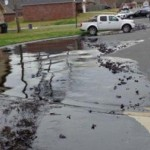 Exxon shows its commitment to the public by having oil actually flow through the streets